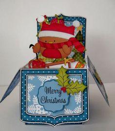 3D Xmas Sledging Bobbin Robin Rubber Band Pop Up Box Card - Gallery | Craftsuprint