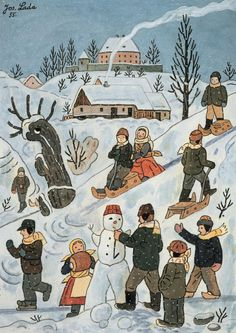 Josef Lada zima v obraze.Josef Lada Winter in the image . Snow Scenes, Winter Scenes, Christmas Scenes, Christmas Art, Christmas Greetings, Grandma Moses, Naive Art, Illustrators, Art For Kids