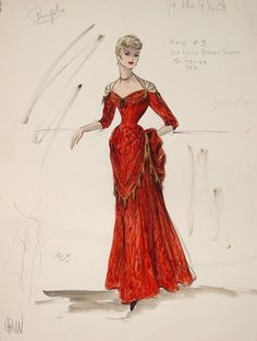 Esquisse et Croquis - Edith Head - Costumière à Hollywood - Jo Van Fleet - Gunfight at OK Corall - 1957