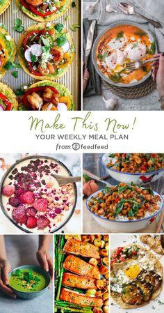 Here's This Week's Meal Planner! Salmon Potato, Baked Salmon, Shirazi Salad, Turkish Eggs, Green Pea Soup, Crispy Eggplant, Thai Shrimp, Shrimp Salad, Spicy Thai