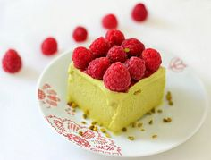 Iced pistachio parfait with raspberries