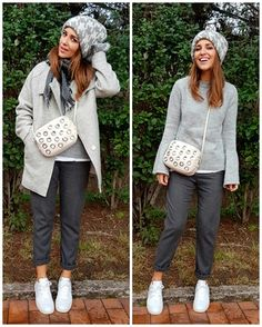 White t-shirt+grey bell sleeves sweater+grey pinstripe pants+white sneakers+grey wool coat+white crossbody bag +grey houndstooth knit beanie+grey scarf. Winter Casual Outfit 2017
