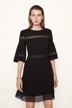 Short dress with inlaid lace RITEGE. The dress is decorated in places with delicate lace trim inlays… - Online Shop Maje Winter Looks, Lace Trim, Short Dresses, Cold Shoulder Dress, Dressing, Style Inspiration, Couture, Clothes For Women, Outfits