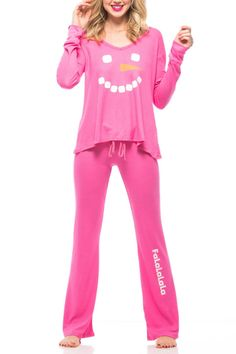 Bake cookies in a v-neck thermal with a loose and drippy body, finished by banded hems at the sleeves and matching long thermal pants feature a banded, drawstring waist, loose leg and a flared finish in Mod Magenta Pink. Set comes neatly packaged in a cream matte box, finished with a black band and embossed logo seal.   Frosty Face Pajamas by Wildfox. Clothing - Lingerie & Sleepwear - Sleepwear Back Bay, Boston, Massachusetts