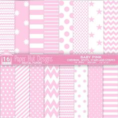 Baby Pink Digital Papers Chevrons Spots Stars by PaperHutDesigns