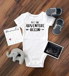 Let the Adventure Begin. Cute pregnancy announcement idea. Custom bodysuit baby onesie $14.95 allmyheartboutique.com