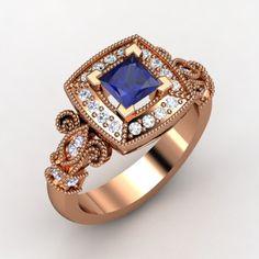 The Dauphine Ring #customizable #jewelry #sapphire #diamond #tanzanite #rosegold #ring