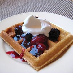 Whole Wheat Waffles and Triple Berry Topping made with Xagave and Sweetened Whipped Cream (3 recipes this page)