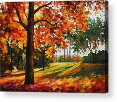 Freedom Of Autumn - Palette Knife Oil Painting On Canvas By Leonid Afremov Acrylic Print by Leonid Afremov.  All acrylic prints are professionally printed, packaged, and shipped within 3 - 4 business days and delivered ready-to-hang on your wall. Choose from multiple sizes and mounting options.