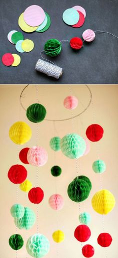 Make a colorful chandelier out of paper. | 51 DIY Ways To Throw The Best New Year's Party Ever
