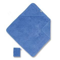 Blauwe badcape + washandje van het merk Coolay - Bemini in badstof materiaal De badcape en washandje zullen de zachtheid en het comfort van de baby tijdens zijn badje bieden.