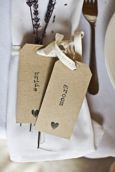 Tag kraft / typo / perfo <3 // Stacey and Christian's Soft Vintage Themed Ibiza Wedding by Lee Scullion