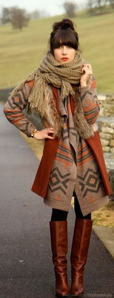 See more Adorable knitted tribal sweater, scarf and boots