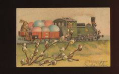 Cute Bunny Rabbit in Train with Eggs Antique Embossed Easter Postcard HHH303 | eBay