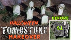 DIY Halloween Tombstone Makeover - HALLOWEEN DECORATION IDEAS! Make Stor...