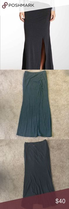 "Zobha Activewear - Perfectly Draped Maxi Skirt Dark Grey. Worn only a few times. Perfect condition. Incredibly comfortable. 43"" long. Ruched front with slit. Casual and fancy... casually fancy 😉. ***NEW TO POSHMARK: sign up using code UZSBE to get $5 off your first order. 🙂 Zobha Skirts Maxi"