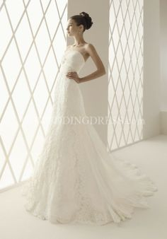 Princess Strapless Floor Length Attached Lace/ Organza Wedding Dress