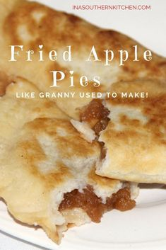 Fried apple pies like Granny used to make—sweet apple filling inside tender, lightly fried pastry dough! Simple Southern cooking at its best! Fried Peach Pies, Fried Apple Pies, Apple Hand Pies, Fried Pies, Fried Apple Pie Dough Recipe, Pecan Pies, Pie Dessert, Dessert Recipes, Fun Recipes