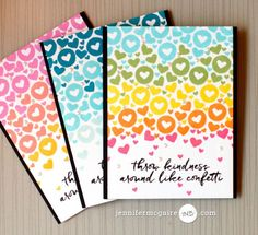Small Stamp Background Video by Jennifer McGuire Ink use small images in a rainbow fashion