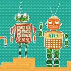 Geboortekaartje voor een jongen met vrolijke retro robots.