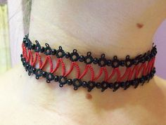 gothic choker steampunk choker tatted red and black by MamaTats  Use coupon code PINTEREST for 10% off!