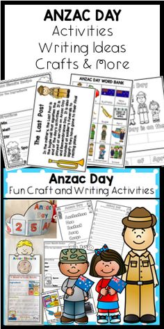 Lots of fun Anzac Day activities.  Writing ideas, a flip book 2 options, Anzac Day crown, word bank, acrostic poem templates, slouch hat craft, Anzac Day memorial board idea, colour or make a poppy wreath,  baking Anzac biscuits writing templates with sequencing activities and more.