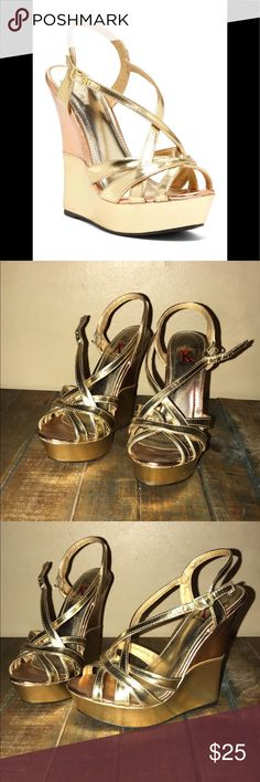 NEW NEVER WORN Strappy Gold & Rose Wedges 7.5 New never worn Kayleen Los Angelos Strappy Gold & Rose Gold colorblock wedges in size 7.5. Super gorgeous for spring and summer. Bought and just never worn because they were a little small. Rose Gold is the HOTTEST trend right now. Great for dates, prom or casual wear. From a smoke free home, ships out next business day! Bundle with another item from closet for additional discount. Kayleen Shoes Wedges