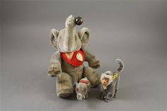 """LOT 3 STEIFF MOHAIR ANIMALS INCLUDING 9"""" """"JUMBO"""" ELEPHANT, 3"""" ELEPHANT AND 4 1/4"""" """"COCO"""" BABOON. JUMBO IS JOINTED AT NECK AND SHOUL..."""