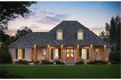 The lovely 1-story floor plan has 2570 square feet of heated and cooled living space and includes 4 bedrooms. Acadian Style Homes, Acadian House Plans, French Country House Plans, Southern House Plans, Craftsman House Plans, Southern Homes, Southern Style, Country Houses, Farmhouse Design