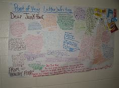 "Point of view writing - where students write from the point of view of ""healthy food"" writing to ""junk food"""