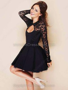 Find More Prom Dresses Information about Custom Made 2014 Black Lace Short Puffy Prom Dress Long Sleeve Formal Dress with Open Back Sexy Evening Dress Vestido Curto,High Quality dress map,China dress daughter Suppliers, Cheap dress formal dress from New F Semi Dresses, Cheap Formal Dresses, Prom Dresses Long With Sleeves, Homecoming Dresses, Pretty Dresses, Beautiful Dresses, Dress Long, Chiffon Dresses, Gorgeous Dress