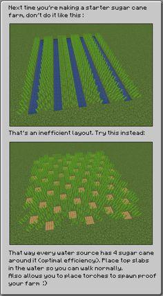 Improve your sugar cane farms! Minecraft Farmen, Construction Minecraft, Minecraft Welten, Minecraft Building Guide, Cute Minecraft Houses, Minecraft House Tutorials, Amazing Minecraft, Minecraft Tutorial, Minecraft Blueprints