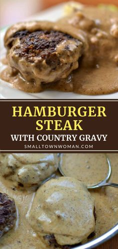 An inexpensive ground beef recipe that you can easily prepare in one skillet! Hamburger Steak with Country Gravy is so quick to come together. Even picky eaters will love this delectable comfort food! Serve over mashed potatoes for a family-friendly weeknight dinner! Hamburger Steaks, Hamburger Steak Recipes, Hamburger Dishes, Pork Recipes, Cooking Recipes, Hamburger Gravy, Budget Recipes, Family Recipes, Yummy Recipes