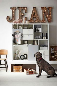 Kid's Room w/ Name in Lights via vtwonen bedroom chambre enfant Big Girl Rooms, Boy Room, Animal Snacks, Ideas Hogar, The Design Files, Blog Deco, Kids Decor, Home Decor, Kids Bedroom