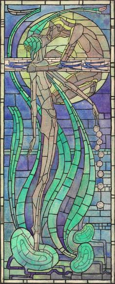 "Margaret Macdonald Mackintosh (1865-1933) - ""Summer"" Leaded Glass Design. Watercolour on Paper. Circa 1894. Hunterian Art Gallery. University of Glasgow, Glasgow, Scotland."