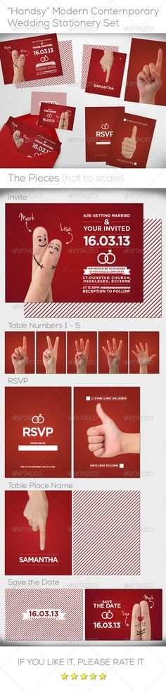 """""""Handsy"""" Complete Wedding Stationery Set — JPG Image #red #wedding • Available here → https://graphicriver.net/item/handsy-complete-wedding-stationery-set/6429382?ref=pxcr"""