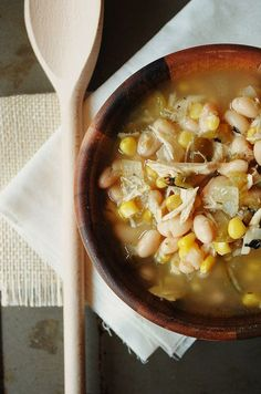 White Chicken Chili, might try it with my leftover turkey too! *Made this recipe. Was very good! Only changes were that I used leftover turkey from Thanksgiving, frozen corn instead of canned, and I put two cloves of garlic in with the onions. Great recipe though. Would make again.