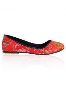 Red Brocade Ballerinas @ pret-amoda.com