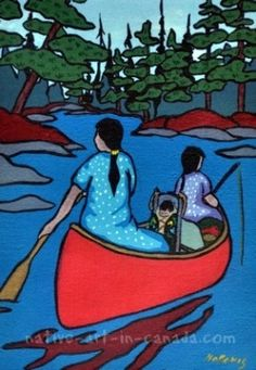A painting of native artist Nokomis going to the dentist by canoe. Native American Women, Native Art, Nativity, Disney Characters, Fictional Characters, Arts And Crafts, Watercolor, Canoeing, Crafty