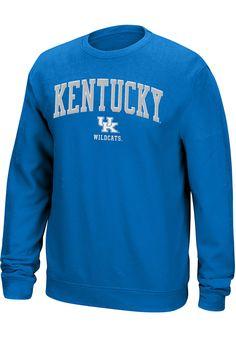 9ed21c90cd3d Top of the World Kentucky Wildcats Mens Blue Arch Mascot Long Sleeve Crew  Sweatshirt