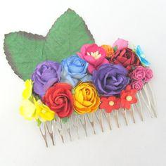 Frida Kahlo tropical Floral Haircomb Flower Fascinator Vintage Wedding Party Bridal Accessory Bridesmaid statement on Etsy, 141,80kr