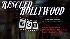 To celebrate passing 100 followers we are offering 20% off any order of $30 or more. This offer will only be valid until September 30! Just use promotion code 100PIN at checkout on our Etsy Site.  www.rescuedhollywood.com  Also follow us on Facebook for even more discounts @  https://www.facebook.com/RescuedHollywood