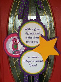Barney Inspired Birthday Party Door Hanger Barney and Friends Baby Shower I love you you love me Purple Dinasour by FiggiDoodles on Etsy https://www.etsy.com/listing/226271953/barney-inspired-birthday-party-door