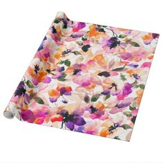An elegant, bright and chic pink, orange, purple and black watercolor floral pattern featuring romantic and modern pastel watercolor flowers. Get this girly and stylish artistic flowers pattern. Perfect summer decorative gift for her, the girly girl who loves nature, abstract floral art and cute flowers.   Girly Road is a collaboration between Girly Trend and Railton Road