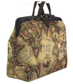 Old World Map Tapestry  Carpet Bag with Genuine Leather