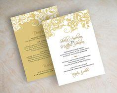 Gold wedding invitations, victorian filigree pattern design wedding stationery in gold and white, Jora on Etsy, $1.00
