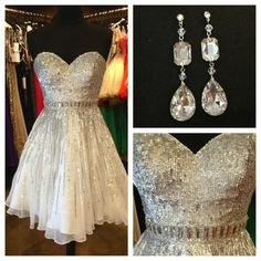 AHC168 New Arrival Sequins Beaded Homecoming Dress Sweetheart Neck Ivory Chiffon Short Prom Dress