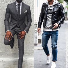 Which would you prefer? The grey suit on the left or the casual street look on the right? #mensfashion_guide