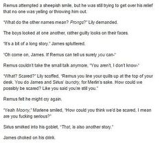 Don't ship Sirius and Remus but hey that conversation is funny ...