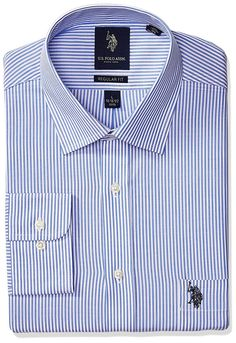 Cotton, PolyesterImportedMachine WashRegular fitSingle and double needle tailoringAdjustable button cuffCenter back pleatEstablished in the U. Collar Dress, Shirt Dress, Blue Stripes, High Fashion, Blue And White, Polo, Fitness, Sleeves, Mens Tops